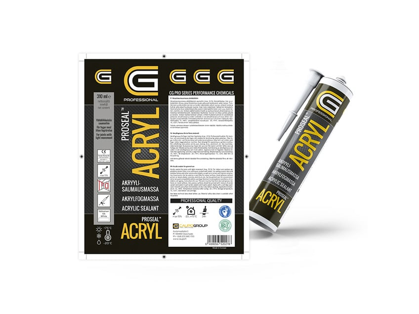 Proseal Acryl -etikettisuunnittelu, CG Professional