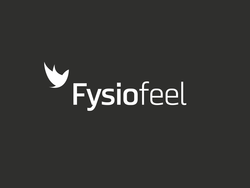 Fysiofeel-logo tummalla taustalla (mustavalko), logosuunnittelu / graafinen suunnittelu