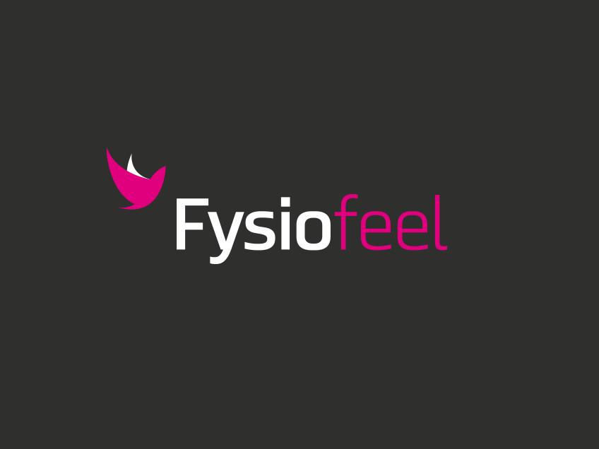 Fysiofeel-logo tummalla taustalla, logosuunnittelu / graafinen suunnittelu