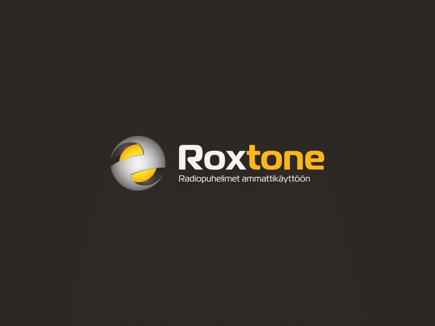 Roxtone-logo tummalla taustalla, logosuunnittelu / graafinen suunnittelu