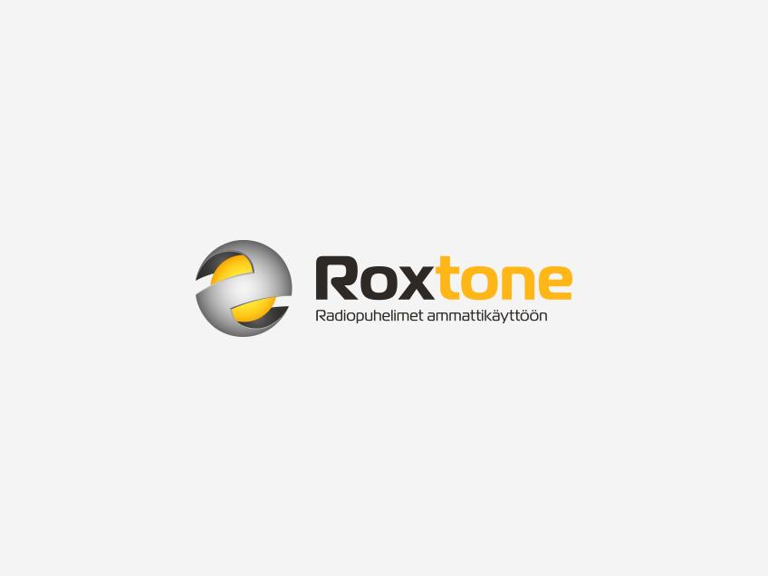 Roxtone-logo vaalealla taustalla, logosuunnittelu / graafinen suunnittelu