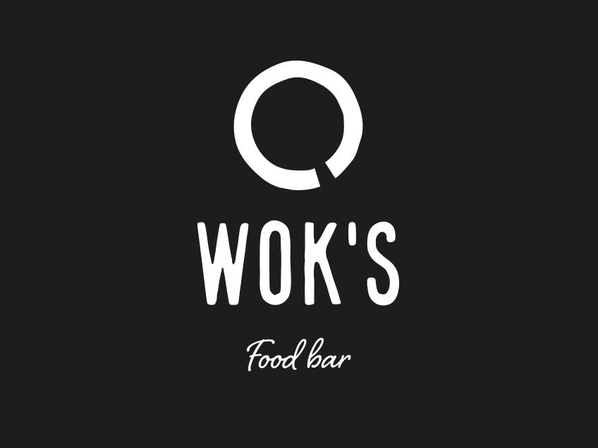 Wok's-logo tummalla taustalla (mustavalko), logosuunnittelu / graafinen suunnittelu