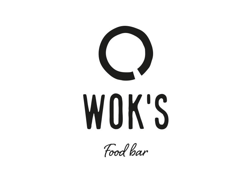Wok's-logo vaalealla taustalla (mustavalko), logosuunnittelu / graafinen suunnittelu