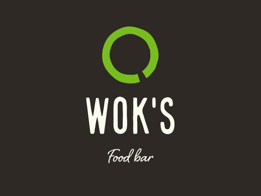 Wok's-logo tummalla taustalla, logosuunnittelu / graafinen suunnittelu