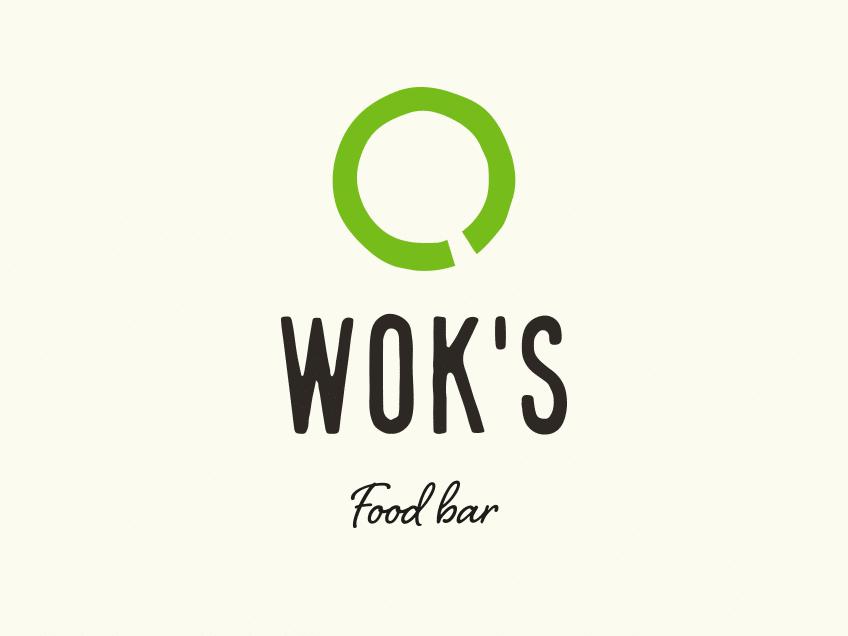 Wok's-logo vaalealla taustalla, logosuunnittelu / graafinen suunnittelu