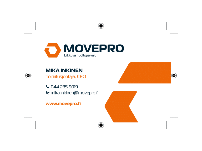 Movepro-käyntikortti (edestä), graafinen suunnittelu