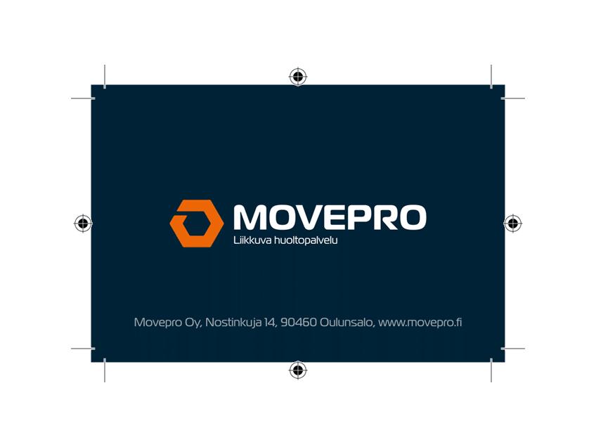 Movepro-käyntikortti (takaa), graafinen suunnittelu