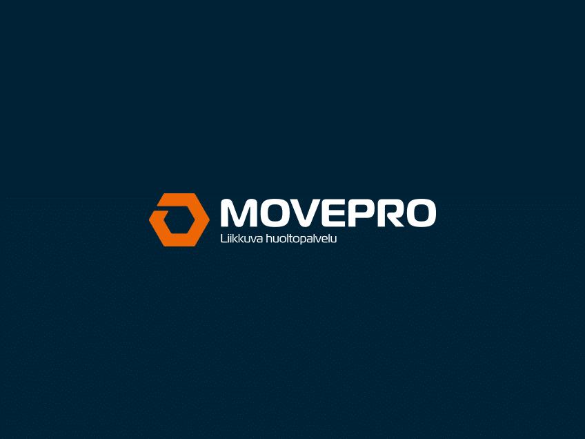 Movepro-logo tummalla taustalla, logosuunnittelu / graafinen suunnittelu